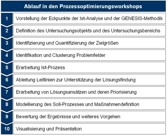 Ablauf des Prozessoptimierungsworkshops