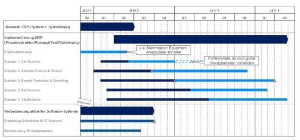 Abbildung 1: Roadmap zur Prozessverbesserung, ERP-Auswahl und -Einführung