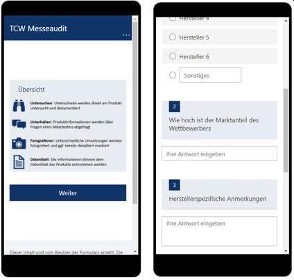 Abb. 2: Mobile Anwendung für das Smartphone oder Tablet zur Dokumentation der Interviewergebnisse